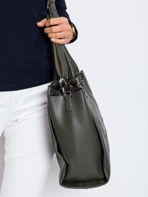 Ciemnozielona damska torba z ekoskóry                              zdj.                              3