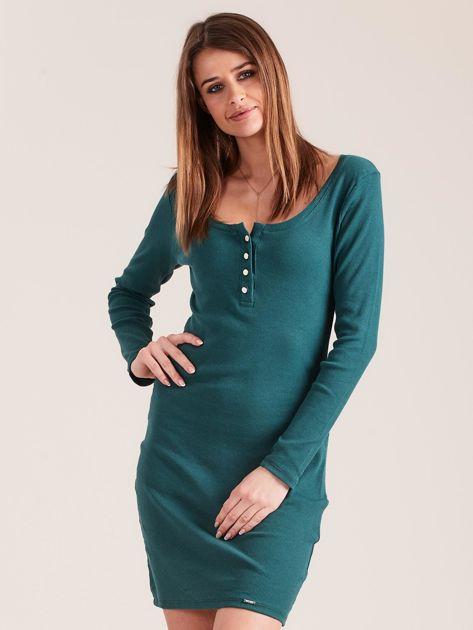 Ciemnozielona dopasowana sukienka z guzikami                              zdj.                              1