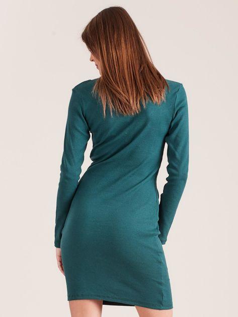Ciemnozielona dopasowana sukienka z guzikami                              zdj.                              2