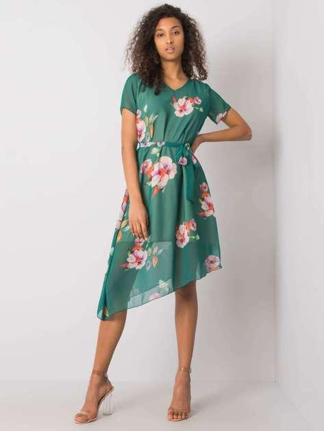 Ciemnozielona sukienka w kwiaty Noemie