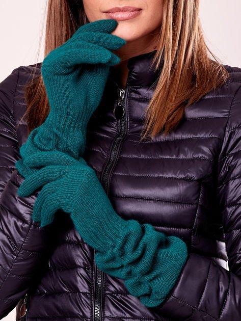 Ciemnozielone długie rękawiczki z marszczonym ściągaczem                                   zdj.                                  1