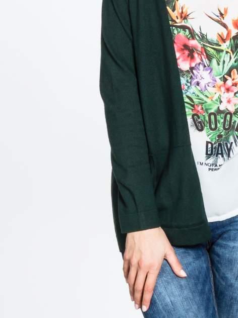 Ciemnozielony sweter kardigan z bocznymi kieszeniami                                  zdj.                                  6