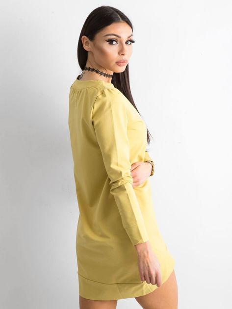 Ciemnożółta dresowa tunika basic                              zdj.                              3