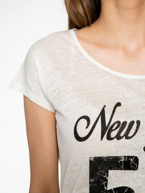 Ciemnyecru t-shirt z napisem NEW YORK CITY OF LOVE 55                                  zdj.                                  5
