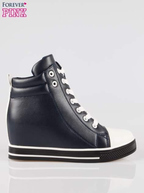 Cienoniebieskie sneakersy trampki cap toe na koturnie