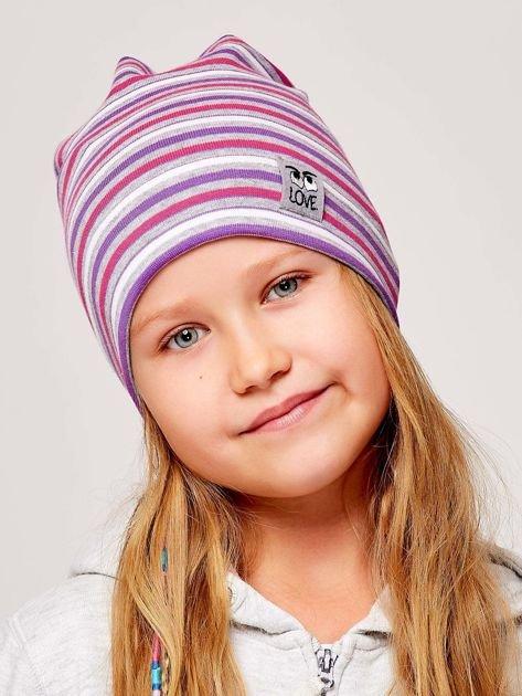 Czapka dziewczęca w paski z naszywką LOVE fioletowa                              zdj.                              1
