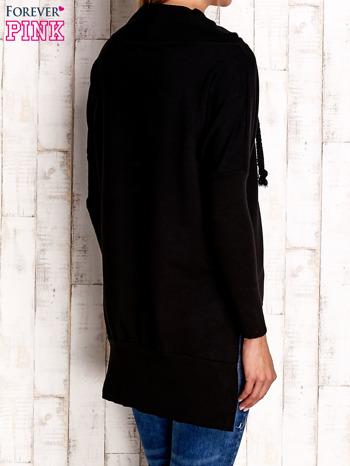 Czarna asymetryczna tunika z troczkami                                  zdj.                                  2