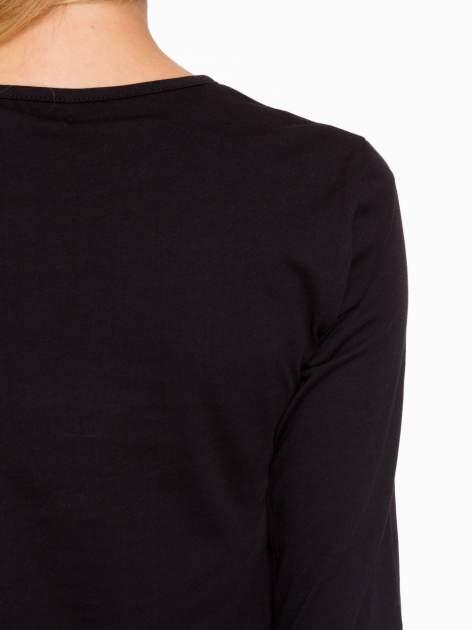 Czarna basicowa bluzka z długim rękawem                                  zdj.                                  8