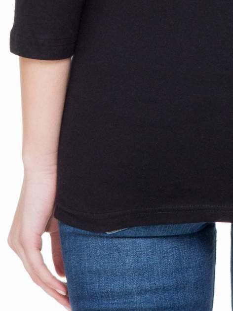 Czarna basicowa gładka bluzka z rękawem 7/8                                  zdj.                                  5
