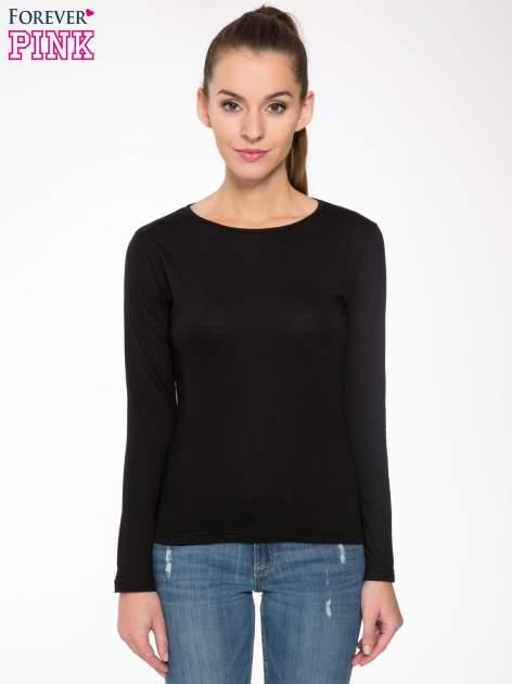 Czarna bawełniana bluzka typu basic z długim rękawem