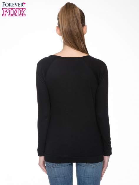 Czarna bawełniana bluzka z rękawami typu reglan                                  zdj.                                  4