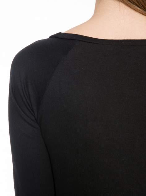 Czarna bawełniana bluzka z rękawami typu reglan                                  zdj.                                  7