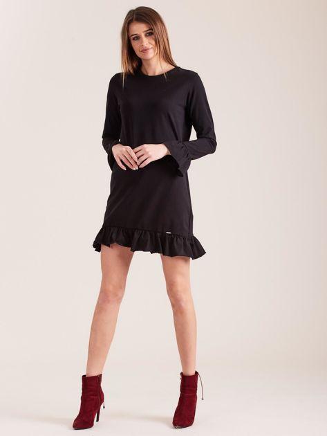 Czarna bawełniana sukienka z falbanką                              zdj.                              4
