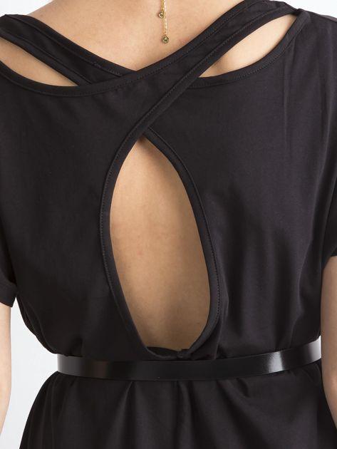 Czarna bawełniana tunika z wycięciami z tyłu                              zdj.                              7
