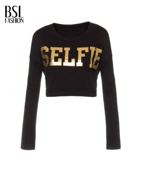 Czarna bluza cropped ze złotym napisem SELFIE                                  zdj.                                  5