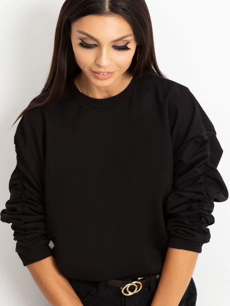 Czarna bluza damska z marszczonymi rękawami                              zdj.                              1
