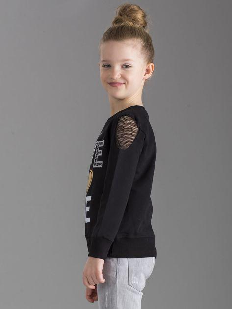 Czarna bluza dla dziewczynki z nadrukiem                              zdj.                              2