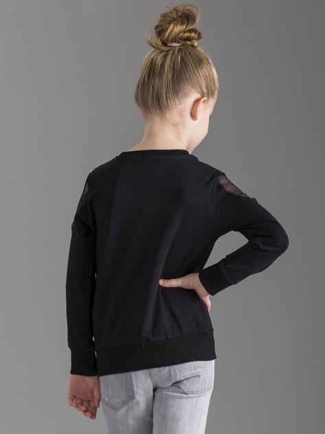 Czarna bluza dla dziewczynki z nadrukiem                              zdj.                              4