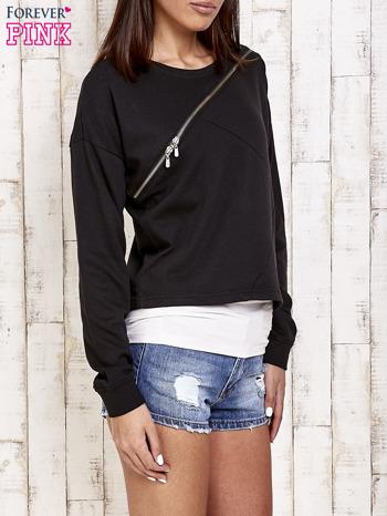 Czarna bluza dresowa z asymetrycznym suwakiem                                  zdj.                                  3