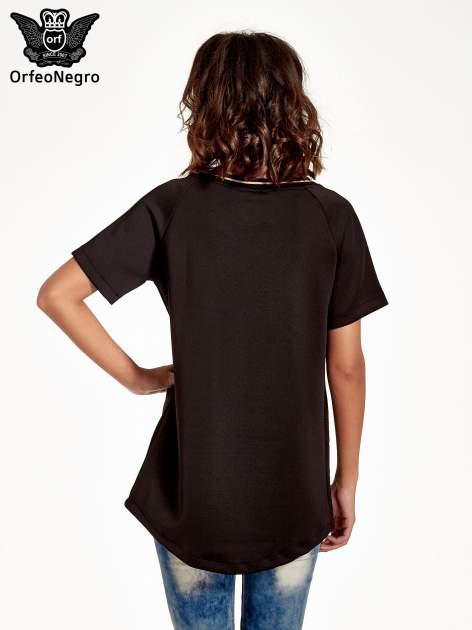 Czarna bluza glamour ze złotymi znakami japońskimi                                  zdj.                                  2