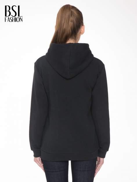 Czarna bluza kangur z kapturem i nadrukiem FÉLINE MEOW                                  zdj.                                  4
