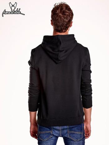 Czarna bluza męska z kapturem i naszywkami                                  zdj.                                  5