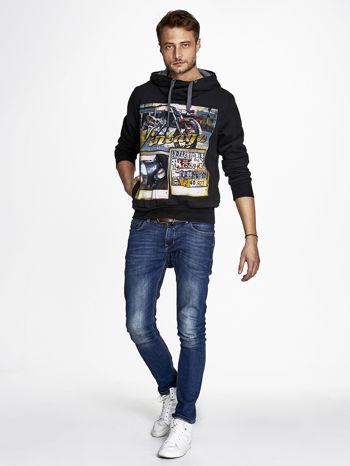 Czarna bluza męska z kapturem motyw motocyklowy                                  zdj.                                  4