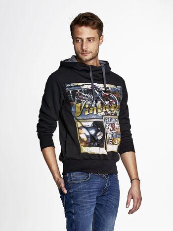 Czarna bluza męska z kapturem motyw motocyklowy                                  zdj.                                  3