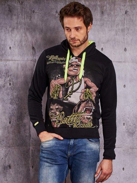 Czarna bluza męska z raperskim nadrukiem                                   zdj.                                  1