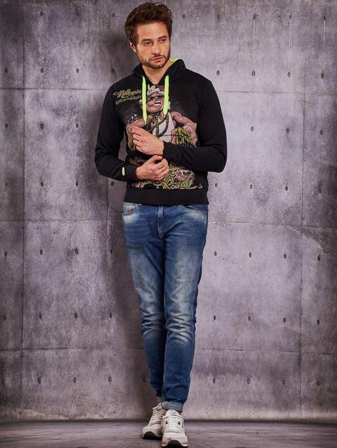 Czarna bluza męska z raperskim nadrukiem                                   zdj.                                  4