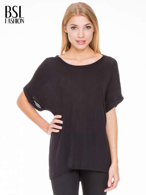 Czarna bluza oversize z dekoltem typu pajęczyna                                  zdj.                                  1