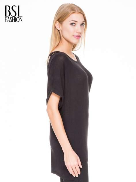 Czarna bluza oversize z dekoltem typu pajęczyna                                  zdj.                                  3