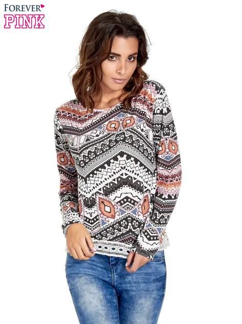 Czarna bluza w azteckie wzory z gipiurą