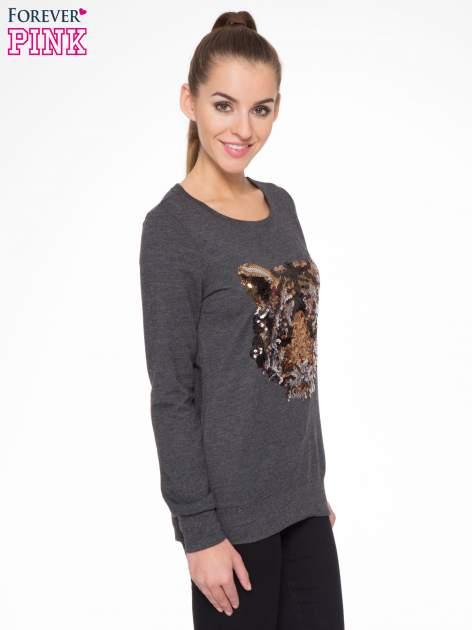 Czarna bluza z aplikacją tygrysa z cekinów                                  zdj.                                  3