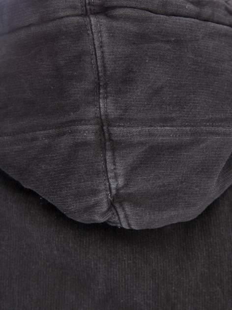 Czarna bluza z kapturem z efektem sprania                                  zdj.                                  7