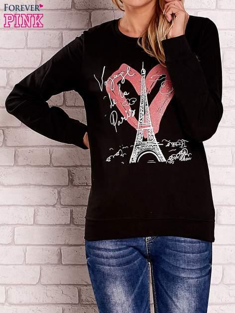 Czarna bluza z motywem paryskim