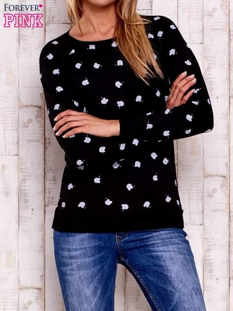 Czarna bluza z nadrukiem jabłuszka                                  zdj.                                  1