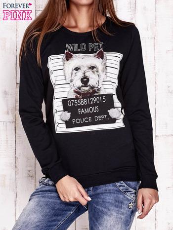 Czarna bluza z nadrukiem psa