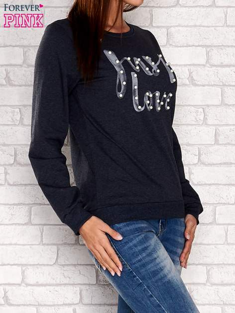 Czarna bluza z napisem JUST LOVE i perełkami                                  zdj.                                  1