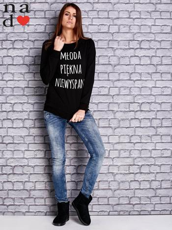 Czarna bluza z napisem MŁODA PIĘKNA NIEWYSPANA                                  zdj.                                  2