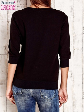 Czarna bluza z naszywkami i ściągaczami                                  zdj.                                  2