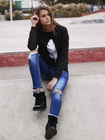 Czarna bluza z piórkiem                                  zdj.                                  6