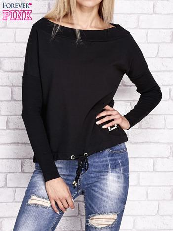 Czarna bluza z szerokim ściągaczem i troczkami                                  zdj.                                  1