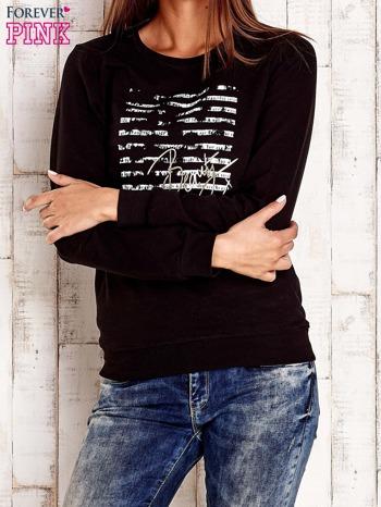Czarna bluza z tekstowym nadrukiem                                  zdj.                                  1