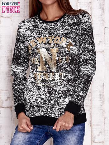 Czarna bluza ze złotym napisem NEW YORK