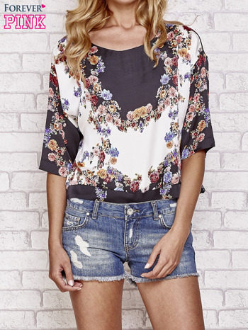 Czarna bluzka koszulowa w kwiaty                                  zdj.                                  1