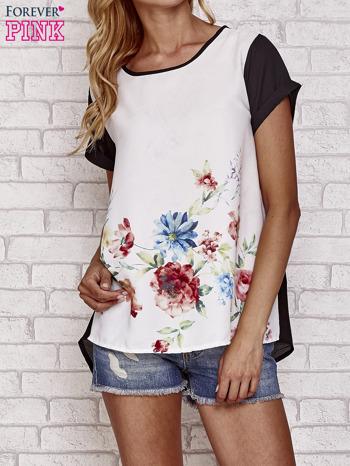 Czarna bluzka koszulowa z nadrukiem kwiatów                                  zdj.                                  1