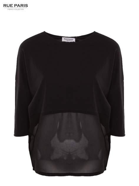 Czarna bluzka oversize z siateczkowym dołem                                  zdj.                                  4