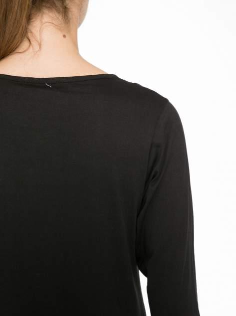 Czarna bluzka w stylu fashion z nadrukiem LA VIE EST BELLE                                  zdj.                                  9