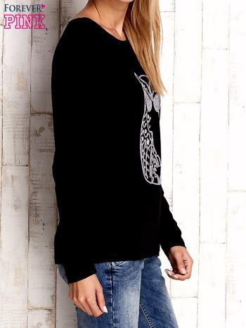 Czarna bluzka z aplikacją w kształcie sowy                                  zdj.                                  3